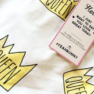 t-shirt yeah bunny queen crown white sweet cute girly