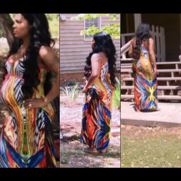 dress, love and hiphop, atlanta, sundress, orange, blue ...
