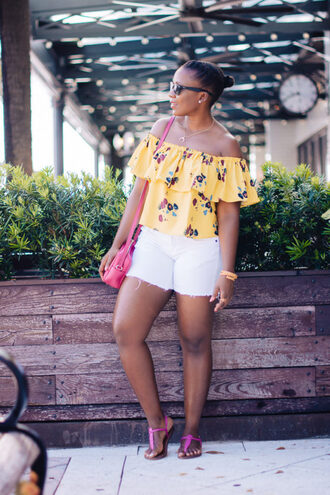 pinksole blogger sunglasses jewels top shorts shoes bag off the shoulder top yellow top pink bag sandals summer outfits