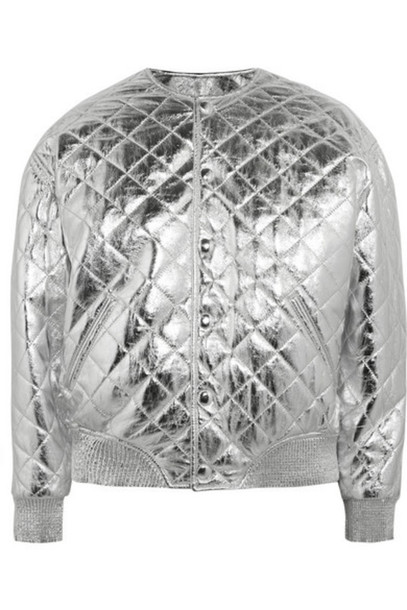 Saint Laurent - Quilted Metallic Leather Bomber Jacket - Silver