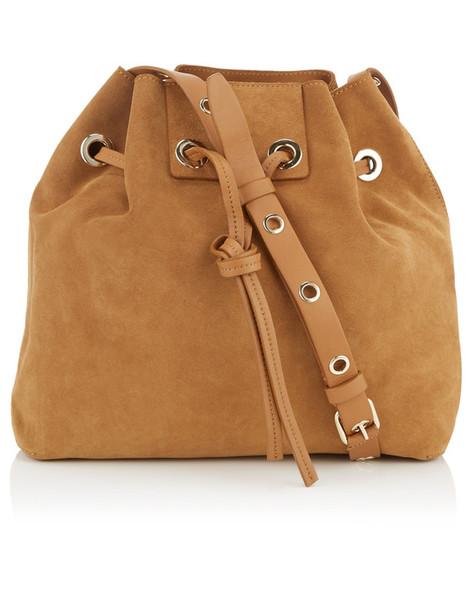 drawstring bag bucket bag suede brown