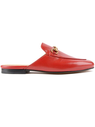 horse mules leather red shoes