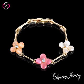 jewels charm bracelet gold jewelry floral