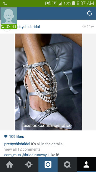 pearls shoes diamonds