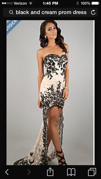 dress prom dress cream dress black heels