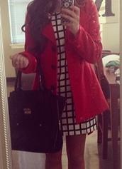 dress,window,black and white,checkered,coat