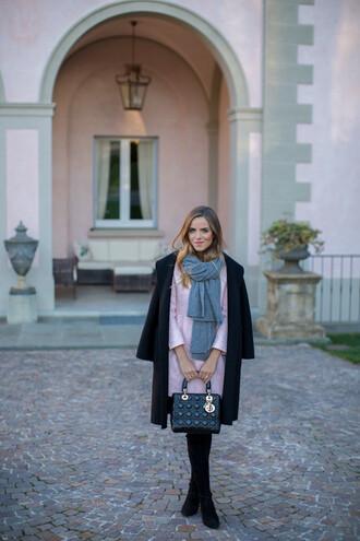 gal meets glam blogger pink skirt handbag black coat