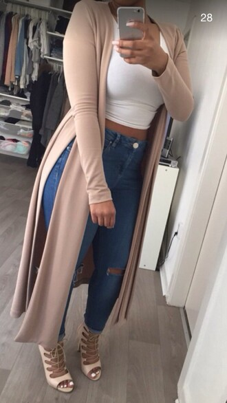 sweater nude cardigan beige pastel black top skirt slit side split