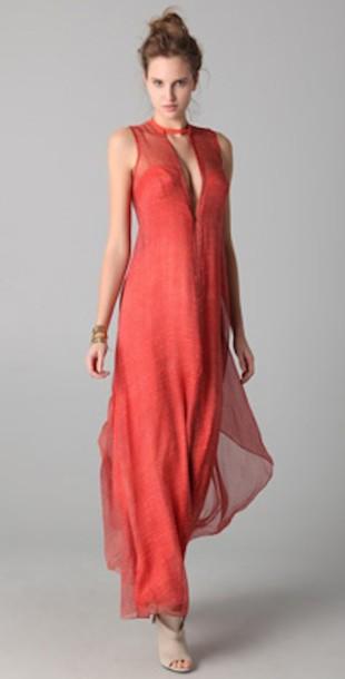 dress long dress flowy dress sleeveless dress plunge v neck layered dress transparent shoes heels orange red red dress