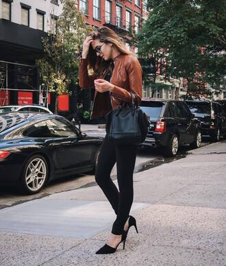 sunglasses tumblr jeans black jeans skinny jeans top black top jacket brown jacket bag black bag high heels black heels fall outfits
