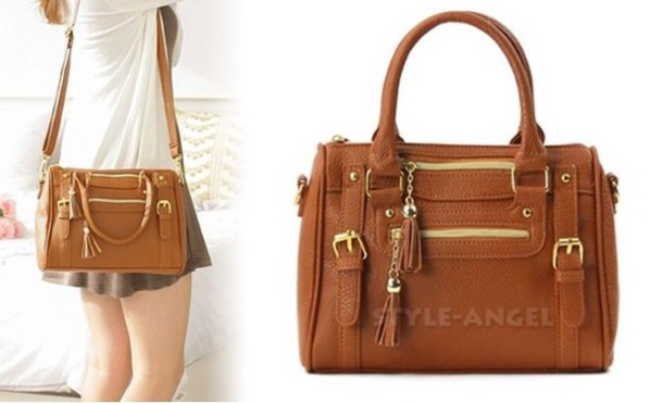 Bag: tan, brown, gold, crossbody bag, satchel bag, cute, classy ...