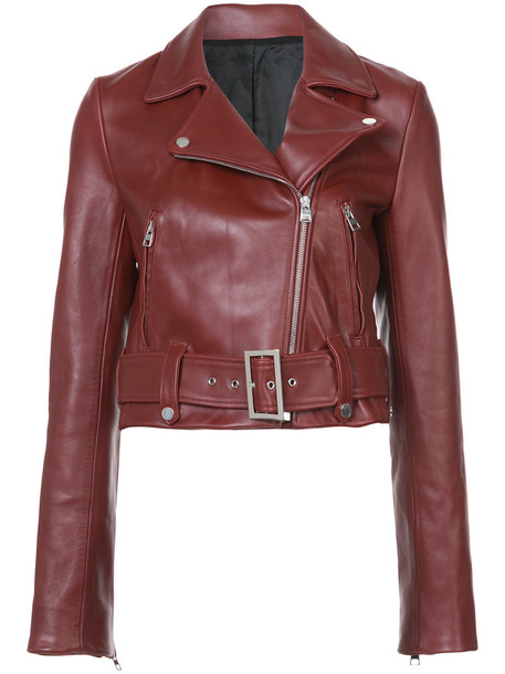 Dvf Diane Von Furstenberg jacket biker jacket women leather red