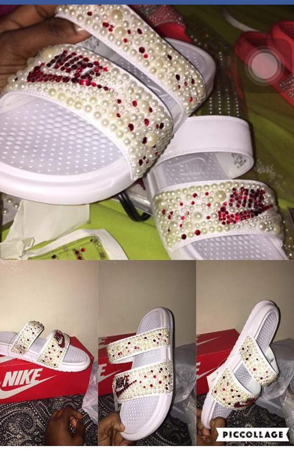 28462c7dd Custom Pearl   Bling Nike Slides