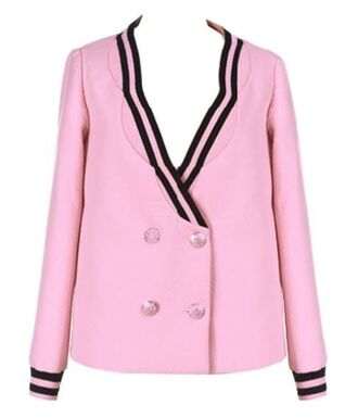 scalloped jacket pink blazer pink jacket double breasted jacquard jacket knit cuffs black stripes double breasted blazer long sleeves www.ustrendy.com