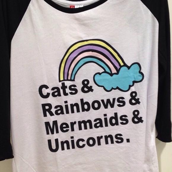 unicorn top cats rainbows mermaids blackandwhitesleeves 3/4sleeves