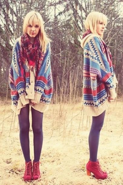 Cardigan Doublelw Tribal Pattern Aztec Knitted Cardigan Sweater