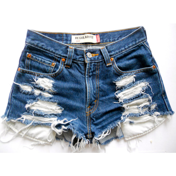 Custom Vintage Levi High-waisted Dark Blue Denim Shorts - Le... - Polyvore