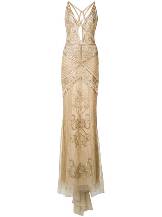 gown back embroidered women nude silk dress
