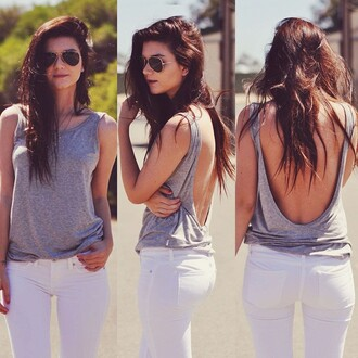 blouse sexy backless sleeveless casual top backless tops grey red sexy top lady girl fashion summer pants white grey top back sunglasses cool