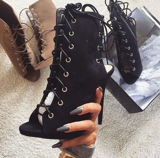 shoes black nude black booties nude booties heels ?lac? ?ac?le?? laced?p ?eel? booties strappy heels peep toe boots cut-out ankle boots