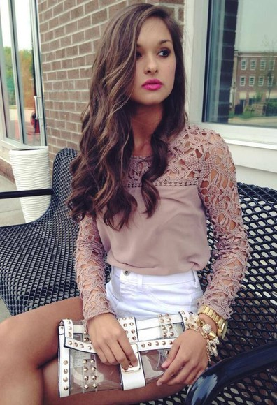 long sleeve top crochet blouse