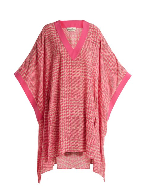 Fendi print silk pink top