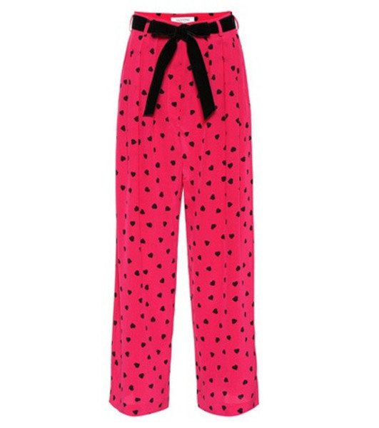 Valentino Belted silk pants in pink