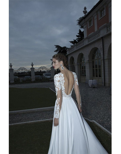 Chiffon & lace gown dress beach wedding long sleeves backless dresses