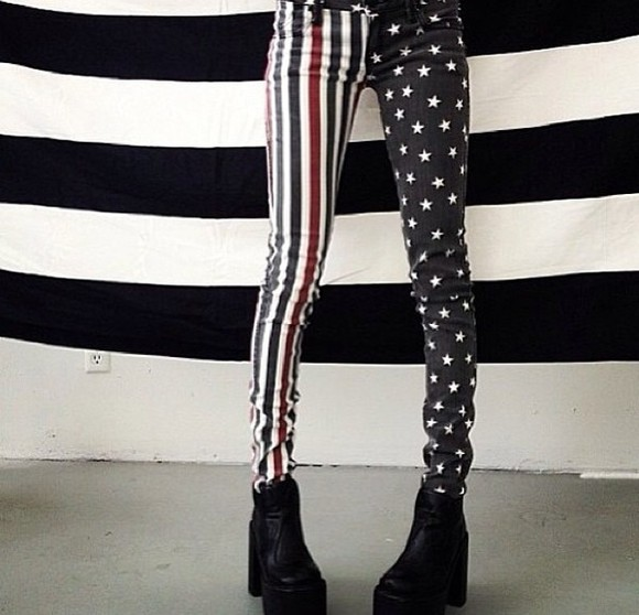 usa flag flag stars stripes jeans skinny jeans usa fashion striped jeans stars and stripes star jeans punk rock alternative