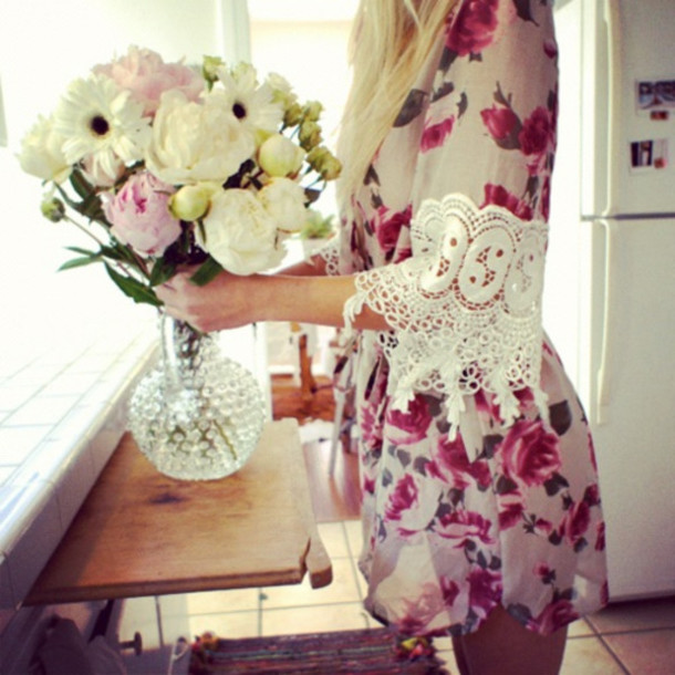 blouse, nightwear, flowers, pink, pretty, wonderful, dress, floral ...