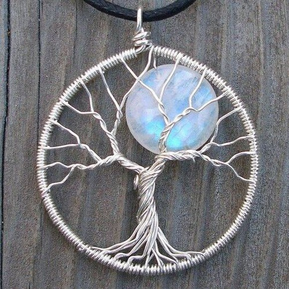 jewels necklace grunge moon tree tree of life boho