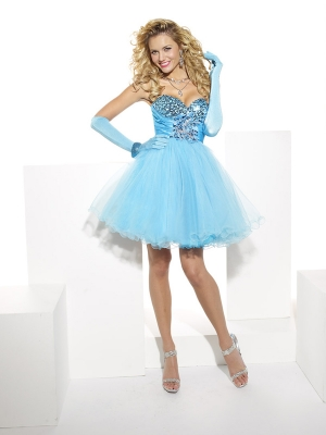 Buy Amazing Blue Sweetheart Organza Prom Dress under 200-SinoAnt.com