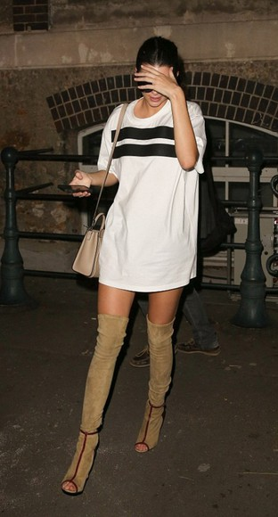 kendall jenner fashion week 2014 streetstyle shoes boots over knee high boots tight boots