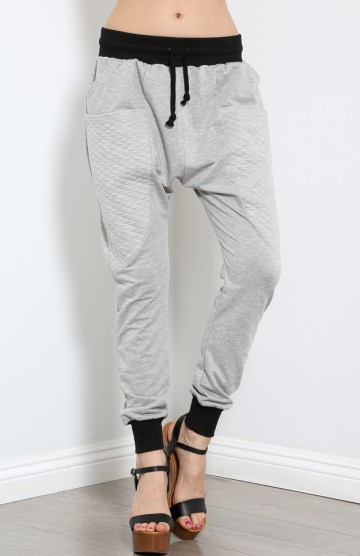 Quilted Drop Bottom Jogger Sweats | MakeMeChic.com