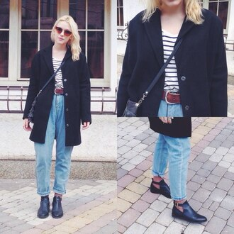 jeans boyfriend jeans blackcoat boots topshop leather biker boots black coat chunky ankle high heeled ankle boot chelsea boots