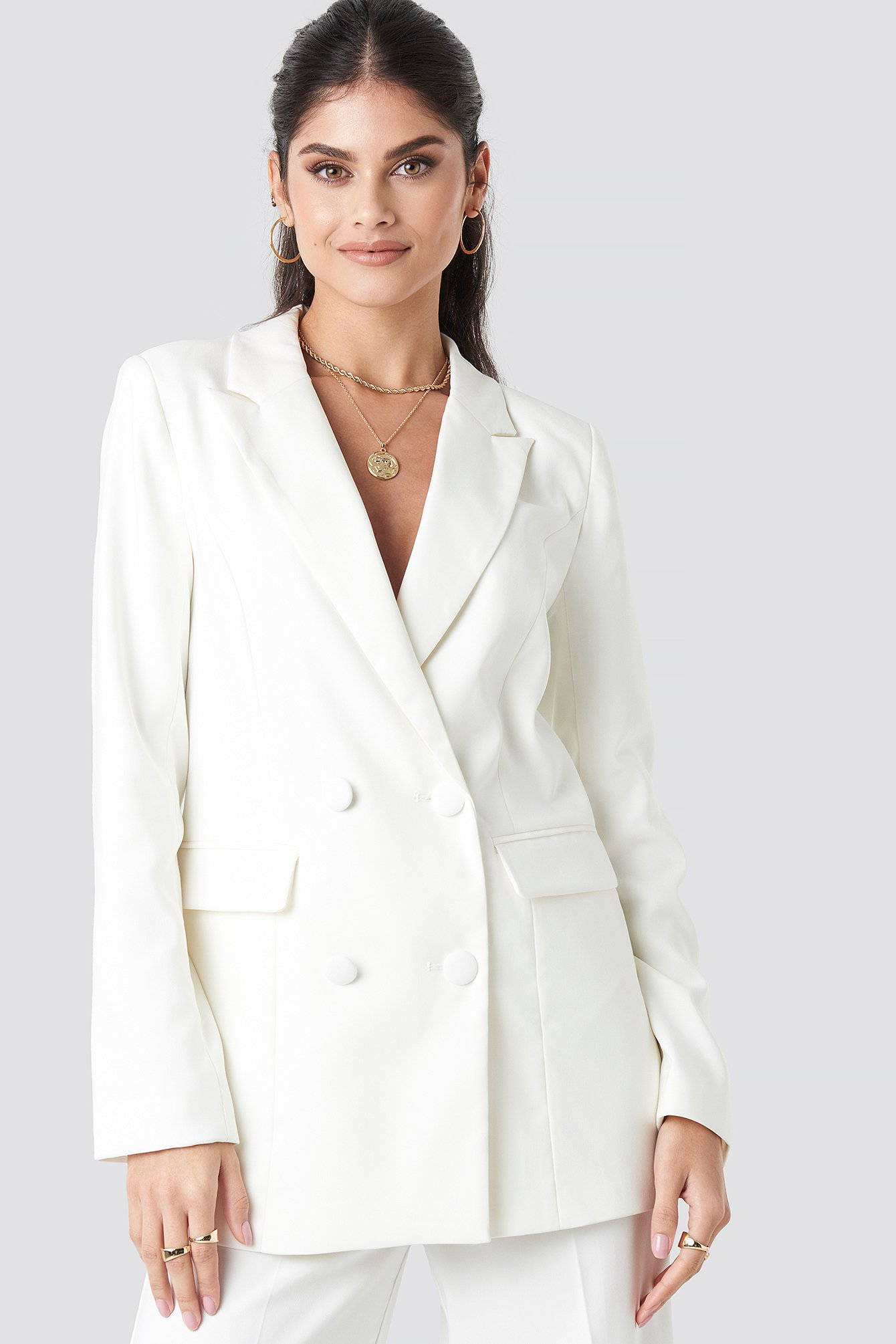 Long Double Breasted Blazer White