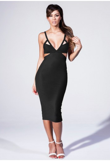 Missguided - Plunge Neck Cut Out Midi Dress In Black