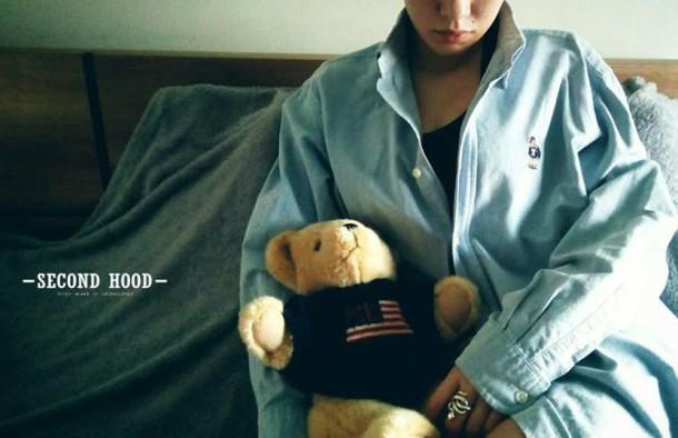 4687cdc423 shirt teenie weenie unisex denim shirt bear teddy bear blue shirt ring  silver ring snake ralph
