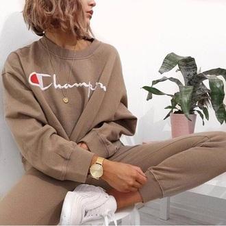 sweater champion beige pullover