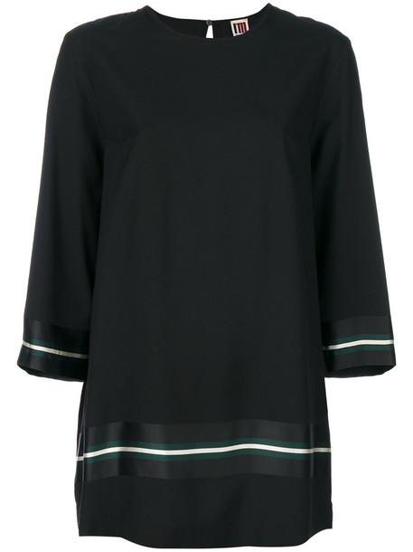I'M Isola Marras - long stripe detail blouse - women - Viscose - 42, Black, Viscose
