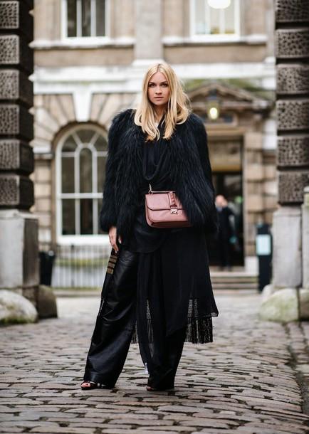 en vogue coop blogger black pants wide-leg pants fluffy black coat coat shirt pants shoes bag