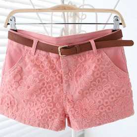 Women 2013 Summer Korean Pink/Blue/White Lace Crochet Veil Patchwork Mid Waist Short Pants Shorts Free Shipping A424 6060-in Shorts from Apparel & Accessories on Aliexpress.com
