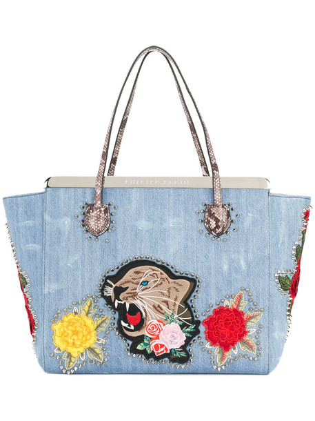 Philipp Plein - flower tiger patch tote - women - Cotton - One Size, Blue, Cotton