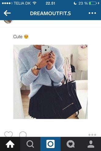 blouse light blue wool warm