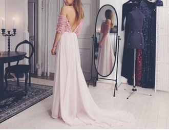 dress backless prom flowers long dress pink