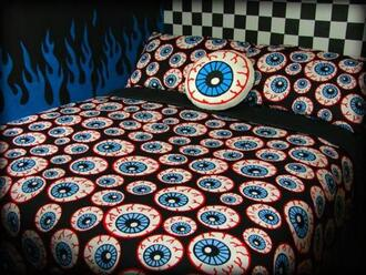 home accessory eyeball kawaii cute lolita black grunge home decor duvet blanket pillow cool wowo wow lmao hi i dont know what im writing yep yes red blue white wot idk soft grunge bedding eyes