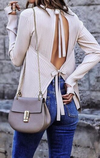 top clothes tumblr clothes pinterest open back sweater open back top beige pinterest outfit fashion