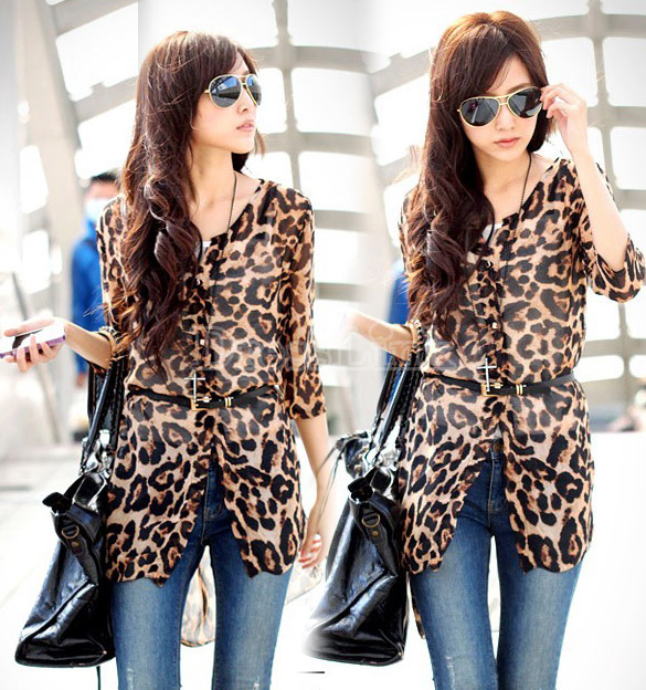 Women's Half Sleeve Leopard Chiffon Blouse Shirt With Belt