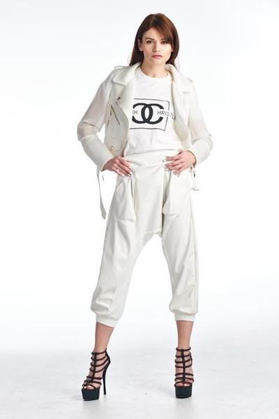 White hot leather and mesh capri harem pants