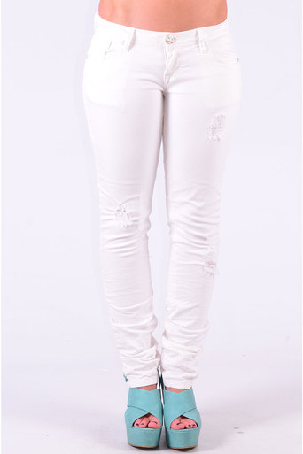 Ladies Cleopatra Crease Effect Skinny Jeans In White at Pop Couture UK